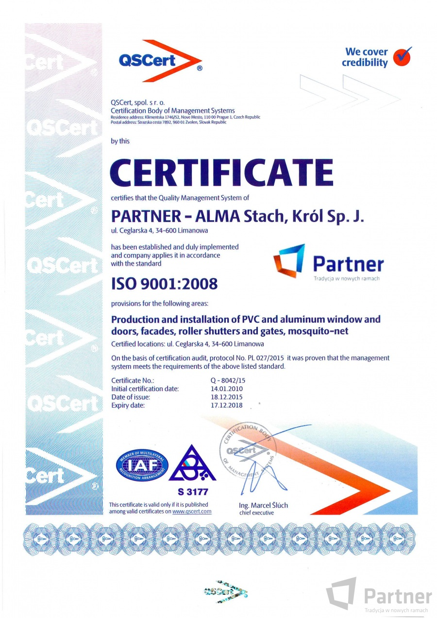 Certificates partner the producer of windows and doors pvc management system certificate iso 90012008 qscert poland 1betcityfo Choice Image